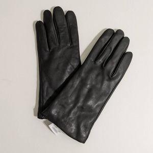 J. Crew Black Leather Cashmere Lined Gloves Medium